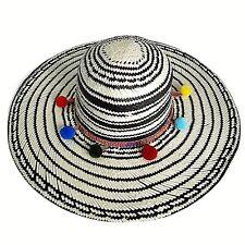 San Diego Hat Company Co Womens Woven Floppy Sun Hat Black White Pom Poms NWT