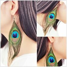 Womens Earrings Long Green Peacock Feather Dangly Drop Studs Bird Boho Jewellery