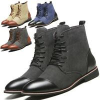 Men Classic Split-Leather Chukka Chelsea Lace Up Martin Work Lace Up Ankle Boots