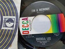 "BRENDA LEE - I'm a Memory / Misty Memories 1972 DECCA Country Pop 7"""