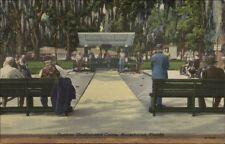 Moosehaven Orange Park IL Shuffleboard in Park Linen Postcard