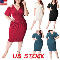 Plus Size Womens Sexy V-Neck Dress Cold Shoulder Casual Evening Party Wrap Dress