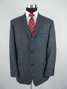 Hugo Boss Sport Coat Gray Brown Plaid Check Wool Blazer 3 Btn Jacket 1 Vent 44R