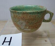 Handmade Speckled Pottery Teacup Brown Green [H-EEM]