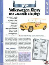 VW Volkswagen Gipsy 4 Cyl. 1970 Germany Allemagne Car Auto Retro FICHE FRANCE