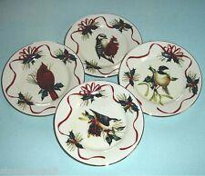 "Lenox Winter Greetings Holiday Party Plates 4 Piece Set 6"" Bird Design New!"