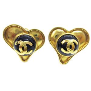 CHANEL CC Logos Heart Motif Stone Earrings Clip-On Gold-Tone 95P K08981