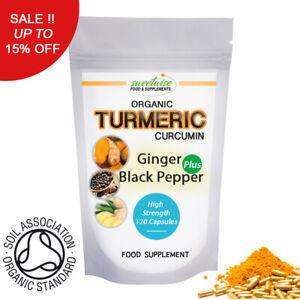 Turmeric Capsules Curcumin Organic with Ginger and Black Pepper - 90 Capsules