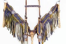 PURPLE YELLOW WESTERN LEATHER SHOW BRIDLE HEADSTALL BREAST COLLAR HORSE TACK