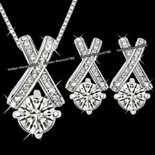 Juego Conjunto Oferta Plata Cruz Cristal Collar y Pendientes Amor Navidad Mujer