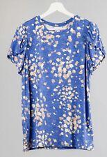 XL LuLaRoe Olive Tulip Sleeve Blue Print Rayon Stretchy Fits 18/20