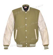 Faux Leather Sleeve Letterman College Varsity Men Wool Jackets #CRSL-WSTR-WB-FL