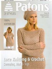 Patons Ladies DK Jumper Hat & Top Knitting & Crochet Pattern 3897