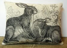PRIMITIVE~ FOLK ART~ Spring Rabbit Pillow