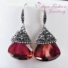 18K White Gold Plated Glass Crystal Large Garnet Red Fan Dangle Earrings