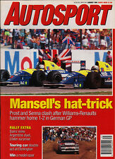 Autosport 1 Aug 1991 - German Grand Prix Mansell, Prost Senna, Donington BTCC