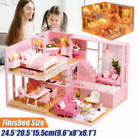 Doll House Miniature DIY Kit Dollhouse Furniture LED Lights Children Gift Toy AU