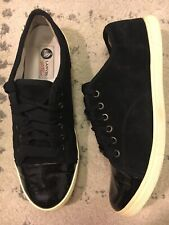 LANVIN MEN'S CAP TOE LEATHER LOW-TOP SNEAKERS SZ 41/US 8 MSRP $495.00 BLACK A6