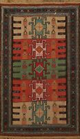 Traditional Geometric Sumak Kilim Hand-woven Area Rug Tribal Wool Carpet 4x5 ft