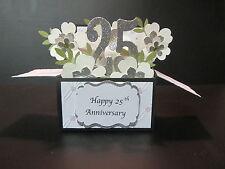 Handmade 3D Card in a box -25th/Silver Anniversary/Birthday-silver blossoms