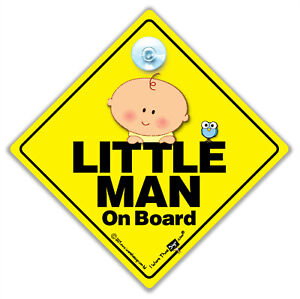 Little Man On Board Sign, Suction Cup Car Sign, Baby On Board Sign For Baby Boys
