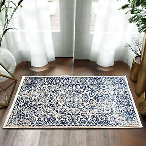 Vintage Distressed Transitional Rug Ivory & Blue Doormat 2' x 3'