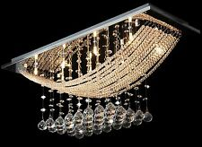 Jewelled Chandelier Ceiling Light Fitting Cascading Crystals Drop Lamp Pendant
