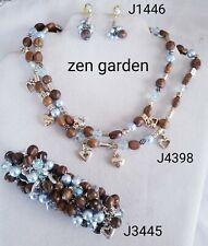 Brighton Zen Garden wood blue pearl necklace bracelet earrings set lot tin B387