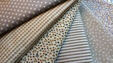 NEW 6pcs BUNDLE Light Brown Grey COTTON FABRIC FLORAL DOTS STRIPE Joblot 20x25cm