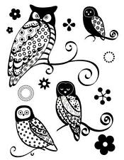 Transparent Silicone Stamps 18cm Re-usable Wise Owls Birds Flowers Trees Design