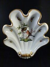 HEREND ROTHSCHILD BIRD SHELL SCALLOP  BOWL WITH JEWELS   white