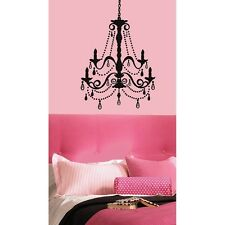 "CHANDELIER Giant Wall STICKER with 20 Gems Decals Fake Light 25"" x 36"" BLACK"