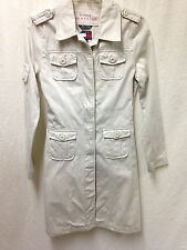 Vintage TOMMY HILFIGER Trench Coat Jacket Military Light Khaki Long Women's SP