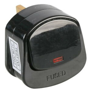 Mains Plug Top With On/Off Switch 13A Amp Fused 3 Pin Switched Neon Light Black