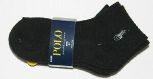 New Polo Ralph Lauren Boys Quarter 3 Pair Black Pack Socks Size 2-4 /4-7