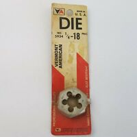 Rethreading Die 1/4-18 Carbon Steel Hex Vermont American Hardware Tool USA Bolt