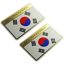 SOUTH KOREA Nation Flag Sticker Emblem Set Golden Self adhesive Water Proof