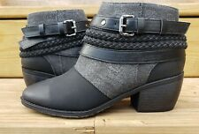 Pierre Dumas Black Ankle Bootie Size 5.5 Gray Canvas Buckle Rope Boot VICTORIA-1