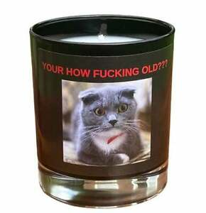 HAPPY BIRTHDAY Rude Container Candle Funny Gift / Cat / Novelty / Fun / Joke