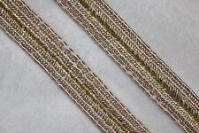 "Clearance 2 yards $1 Metallic Gold Tan Gimp FLAT Sewing Craft Trim 5/8"" wide"