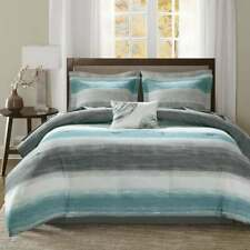 Beautiful Chic Grey Aqua Teal Blue Abtract Bed In A Bag Comforter & Sheet Set