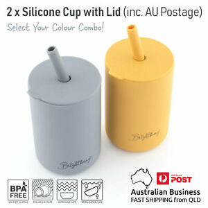 2 x Silicone Baby Toddler Kids Sippy Cup, Lid & Straw, Smoothie Cups with Brush