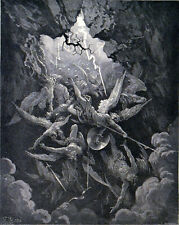 MOUTH OF HELL 1885 Gustave Doré - John Milton - Hotelin ANTIQUE ENGRAVING