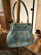 Vera Bradley Totally Turquoise Large Kiss Lock Purse Bag  EUC