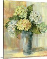 Yellow Hydrangea Canvas Wall Art Print, Hydrangea Home Decor