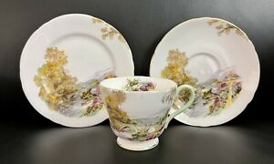 Vintage Shelley Bone China Heather Teacup Saucer Plate Trio, Mint Condition