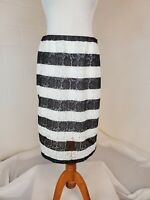 Elle Black and White Striped Lace Pencil Wiggle Skirt Size 12