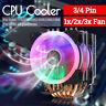 CPU Cooler 6 Heatpipe 3/4 Pin RGB Fan For Intel 775/1150/1151/1155/1156/1366 AMD