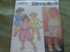 SIMPLICITY PATTERN FOR LITTLE GIRL SUMMER CLOTHES SHORTS ETC 7908 SZ 5-6X