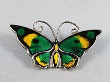 Vtg David Andersen Sterling Silver Guilloche Enamel Butterfly Pin Brooch, Norway
